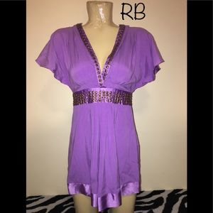 🌈 Hale Bob Light Purple Beaded Silk Spandex Small